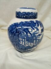 Vintage Mason's Vista Blue Lidded Ginger Jar
