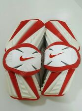 New Nike Huarache Lacrosse Arm Guards Large White Red Protective Gear Sports