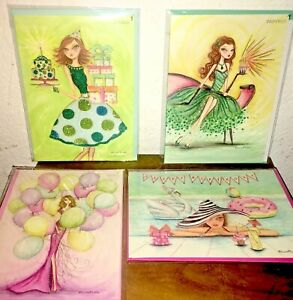 LOT OF 4 PAPYRUS BELLA PILAR BIRTHDAY GIRL SUMMER FORMAL DRESS CARD GEM GLITTERS