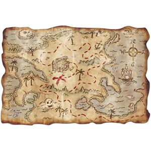 PIRATE PARTY PIN THE FLAG TREASURE MAP CHILDREN KIDS FUN GAME DECORATION Free