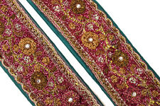 Vintage Indian Sari Trim Sewing Border Antique Embroidered Ribbon Lace ST2547