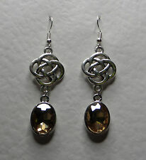 ROUND CELTIC KNOT DARK SILVER PLATED EARRINGS FACETED citrine yellow GLASS OVAL