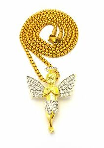 MENS 14K YELLOW GOLD MICRO ANGEL CHARM PENDANT PEARL CHAIN NECKLACE