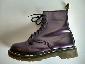 DR MARTENS PURPLE SHIMMER METALLIC BOOTS 7UK MADE IN ENGLAND RARE VINTAGE UNISEX
