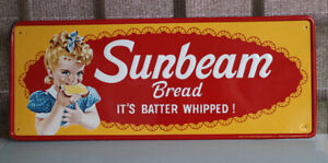 Vintage Original 1969 SUNBEAM BREAD Sign With Girl    Stout Sign Co