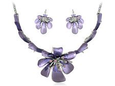 Women Lady Cocktail Light Purple Crystal Rhinestone Flower Necklace Earring Set