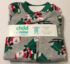 Child Of Mine Baby Blanket Sleeper Sz 0-3 Months Santa