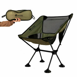 Travel Chair Folding Seat Compact Chair Fishing Hiking Chair Side Pocket GRN