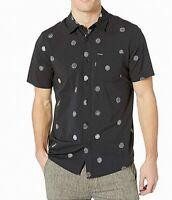 Volcom Mens Shirt Black Size XL Op Dot Button Down Modern Fit Print $55 306
