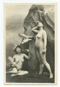 c 1910 Risque Nude French Seagull BEAUTY LADY vintage photo postcard