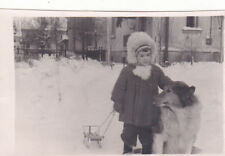 1950s Cute little girl with Collie dog and sledges winter Soviet Russian photo