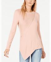 Bar lll Top Blouse Asymmetrical Zipper Blush Pink Sz L NEW NWT 224