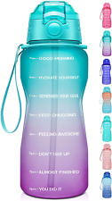 Giotto Large Half Gallon/64OZ WATER BOTTLE with Time Motivational Marker & Straw