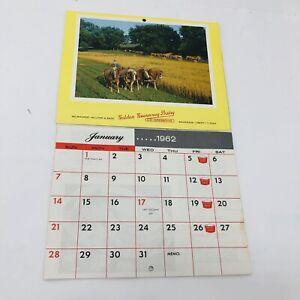 GOLDEN GUERNSEY DAIRY 1962 CALENDAR WI CO-Operative Deale Dairy Farm Milk Delive
