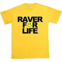 Raver For Life Old Skool Rave Acid DJ Festival Shirt Mens T-Shirt