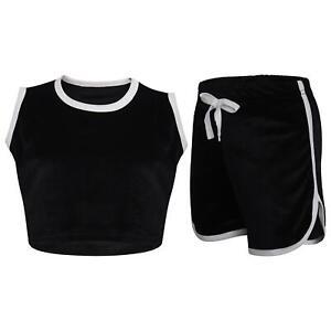 Kids Girls Shorts Set Contrast Taped Black Velour Crop Top & Hot Short 5-13 Year