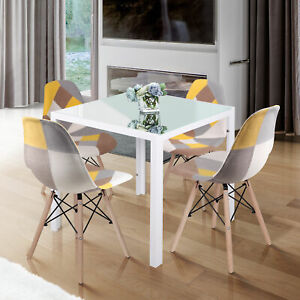 75cm White Small Square Dining Table and 4 Chairs Set Kitchen Dinner Cafe Decor