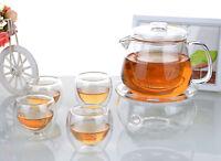 6in1 Glass Tea Set - 500ml Flower Teapot + 4x 70ml Double Wall Cups + Warmer A