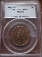 MEXICO 1935 2 CENTAVO PCGS MS 63 RB