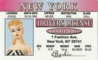BArbie ( of the famous barbie doll ) plastic collecto card Drivers License
