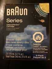 2 Count Genuine Braun Clean Renew Cartridge Refills Shaver Cleaner Sealed Pkg