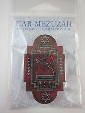 "Car Mezuzah 2.5"" Acrylic ART DECO GAZELLE with Travelers Prayer Scroll"