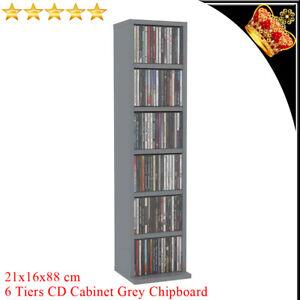 6 Tiers CD Cabinet Grey 21x16x88cm Chipboard DVD Storage Oraniser Sideboard New