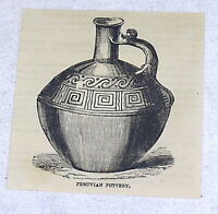1882 small magazine engraving ~ PERUVIAN POTTERY ~  jug with ornate handle