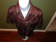 Vtg DANTY OF FLORIDA  geometric Pullover Polo Shirt S 70's shiny Disco BROWN