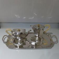 Ciento De Estilo Art Deco Plata Esterlina George V 20th cuatro piezas Juego de Té & Café En Bandeja