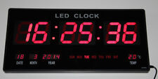 XXL grosse LED digital Wanduhr mit Datum Temperatur Alarm Clock 455x220x33mm Rot