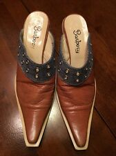 Barbory Western Mule Clog shoes tan and denim leather Italy size 37 6.5 EUC