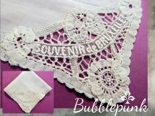 Antique Vintage Souvenir Bruxelles Belgium Embroidered Lace Hankie Handkerchief