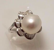 18K White Gold, Diamond and Pearl Ring