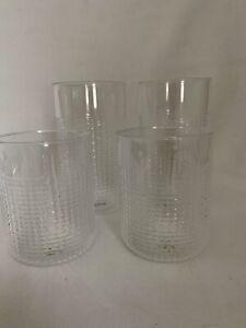 Crate & Barrel Drinking Glass Liv Tumbler & High Ball Glasses Acrylic Set 4 NEW