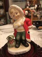 ~Vintage Lefton #2300 December Boy in Santa Suit Christmas Figurine Japan~