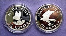 1975 MAURITIUS - OFFICIAL PROOF SILVER SET - CONSERVATION - BUTTERFLY & KESTREL