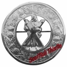 """Scottish Kilt Fly Plaid Brooch ST Andrew Silver Finish 3""""/Celtic Brooches Pins"""