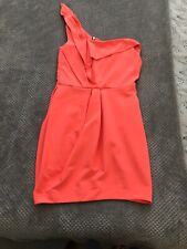 RIVER ISLAND NEON ORANGE / Pink DRESS ONE STRAP SIZE 10 GOOD CONDITION