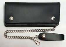 "Large Black Leather Trucker Wallet 7.5"" x 3.5"" With 12"" Chain MADE IN USA"