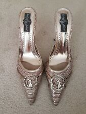 Babyphat Lilac Silver Heels - Snake Effect Diamante Logo Trim Size UK5/38/US7.5