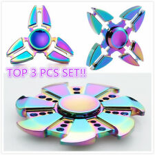 3 Pack Rainbow Alloy Hand Spinner Fidget Focus Toy EDC Finger Spin Gyro ADHD New