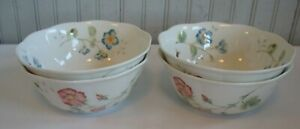 """S/4 LENOX Butterfly Meadow 7"""" porcelain all purpose bowls 1999- active"""