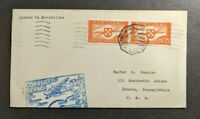 1939 Lisbon Portugal First Flight Cover to Donora Pennsylvania USA