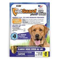 4 Month Flea & Tick Control DROPS for XL Dogs 66 lbs & Up VetGuard Plus Best Dea
