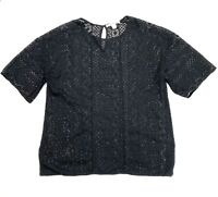 Country Road Women's Size Small Black Short Sleeve Casual Lace Blouse Top