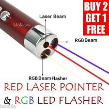 L28 Red Laser Pointer & Red Green Blue (RGB) LED Flasher with Key Ring