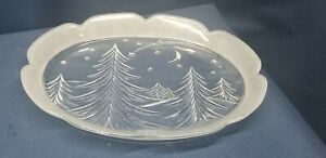 Glass Winter Holiday Serving Dish w/ Evergreens and Stars BEAUTIFUL!