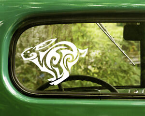 2 TRIBAL RABBIT DECAL Stickers For Car Window Truck Bumper Laptop RV Jeep