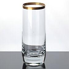 1 Glas Becher Goldrand Kristall Glas 14,7 cm Vintage Saftglas Wasserglas